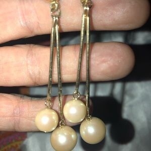 Vintage goldtone faux pearl drop earrings